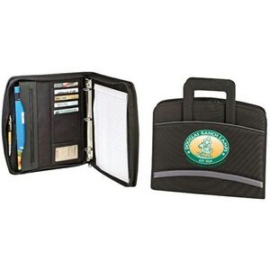 Zippered Binder Padfolio w/ Multiple Business Card Pocket